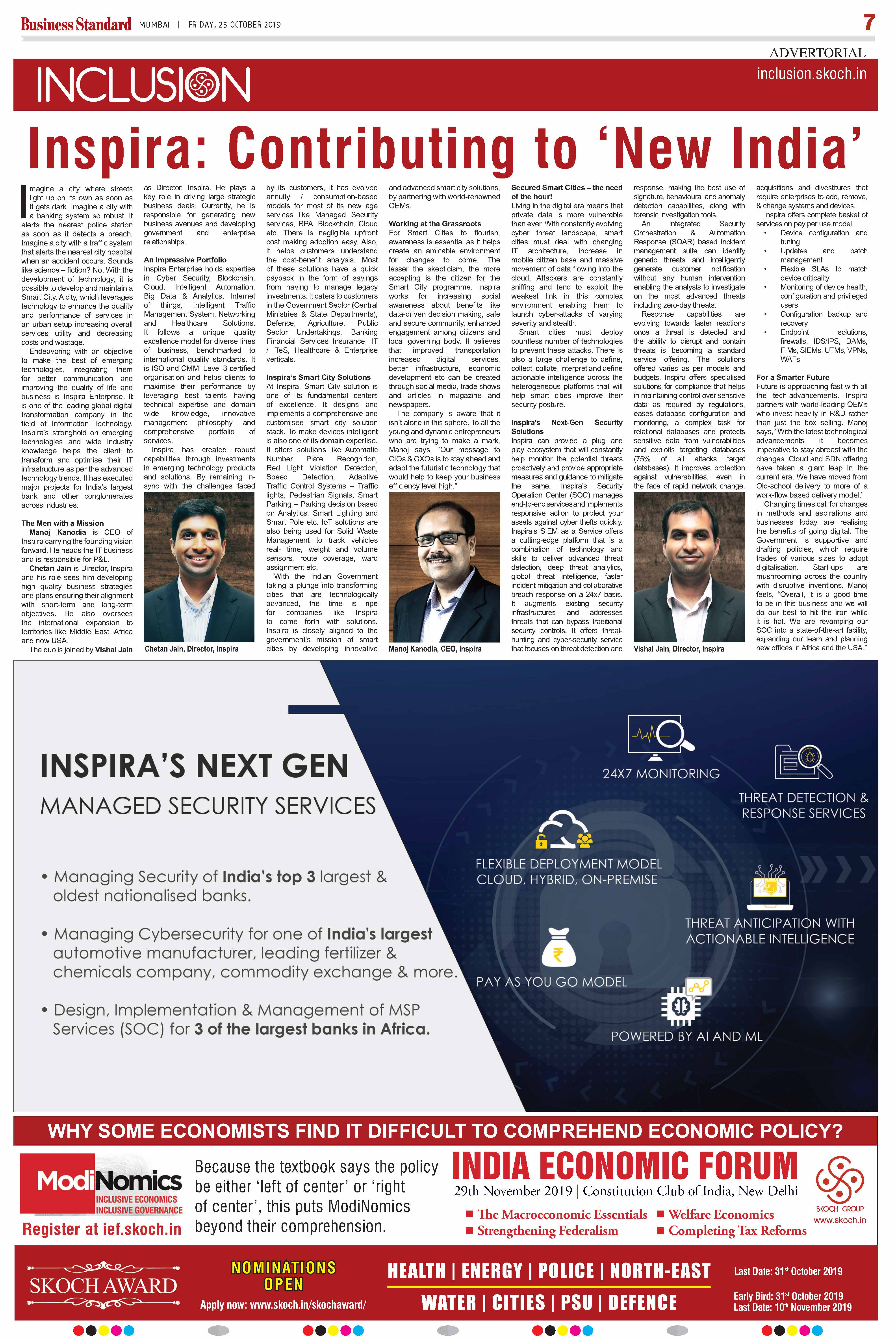 SKOCH Feature published in the Business Standard across all editions nationwide on 25th October 2019