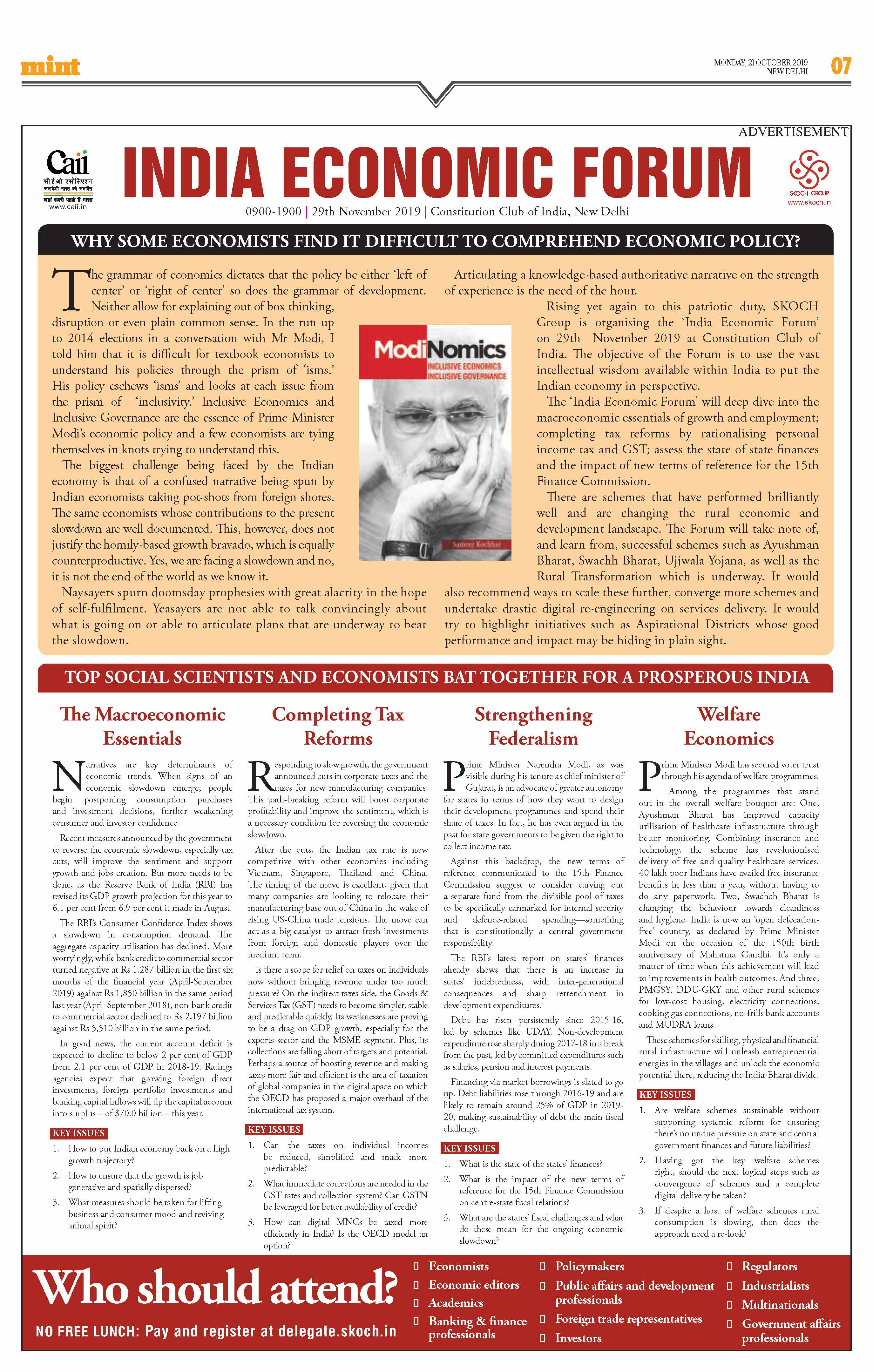 SKOCH Feature published in the Mint across all editions nationwide on 21st October 2019