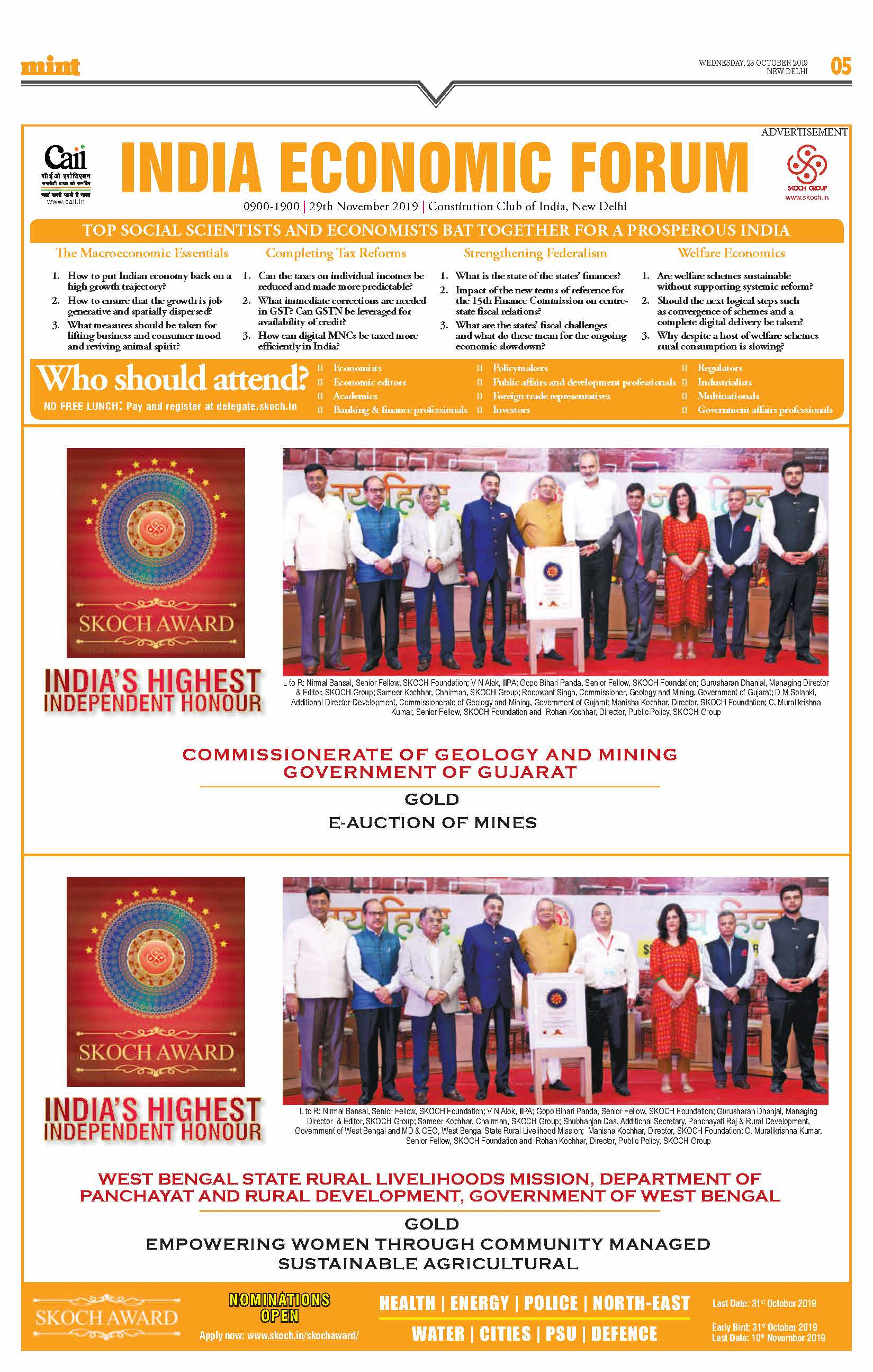 SKOCH Feature published in the Mint across all editions nationwide on 23rd October 2019